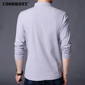 Image 4 - COODRONY Chinesischen Stil Stehkragen T Shirt Männer Langarm Baumwolle T Shirt Männer Kleidung 2018 Leinen T Hemd Homme T shirt t006