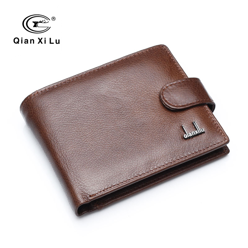 Qianxilu Brand Split Leather Men Wallets With Coin Pocket Brown Wallet Purse Male High Quality wholesale price 5 pcs lot cartoon anime wallet wholesale nintendo game pocket monster charizard pikachu wallet poke wallet pokemon go billetera