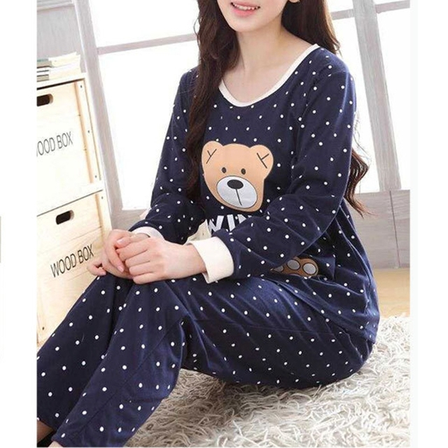 Women Long Sleeve Bear Print Tops And Pants Wave Point Pajamas Set Sleepwear