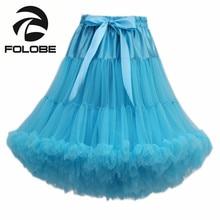 FOLOBE Blue Dancewear Performance Skirt High Waisted Ball Gown Tulle Tutu Skirt Knee Length Adult tutu Faldas Saias Femininas