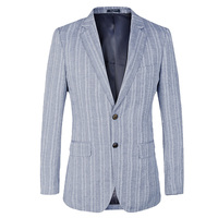 Striped Mens Blazer Slim Fit Suit Jacket for wedding 2 button french Style cotton linen Blue Male Blazers Costume Homme