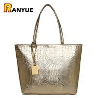 Brand Fashion Casual Women Shoulder Bags Silver Gold Black Crocodile Handbag PU Leather Female Big Tote