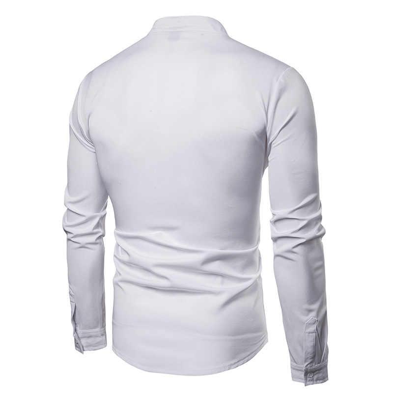 Мужская черная рубашка с воротником мандарина 2019 Модная рубашка с длинными рукавами и вышивкой мужская деловая рубашка на каждый день Chemise Homme
