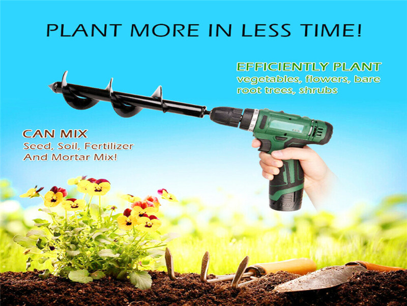 New Earth Drill Ice drill Garden Auger Spiral Drill Machine Bit Flower Planter Auger Yard Gardening Planting Hole Digger Tool