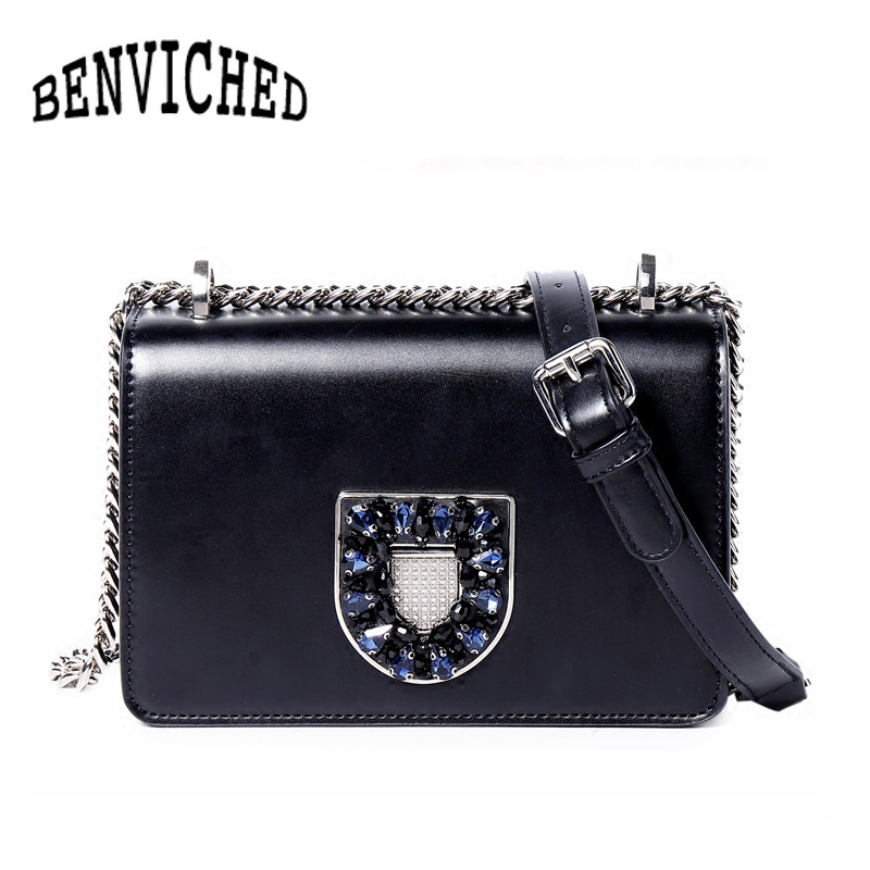 BENVICHED 2017 Fashion Diamonds Women Shoulder Bag Ladies Messenger Bag Leather Crossbody Bag Luxury Handbag bolsa feminina L092 fashion leather women messenger bag cowhide shoulder bag women satchels crossbody bag bolsa feminina