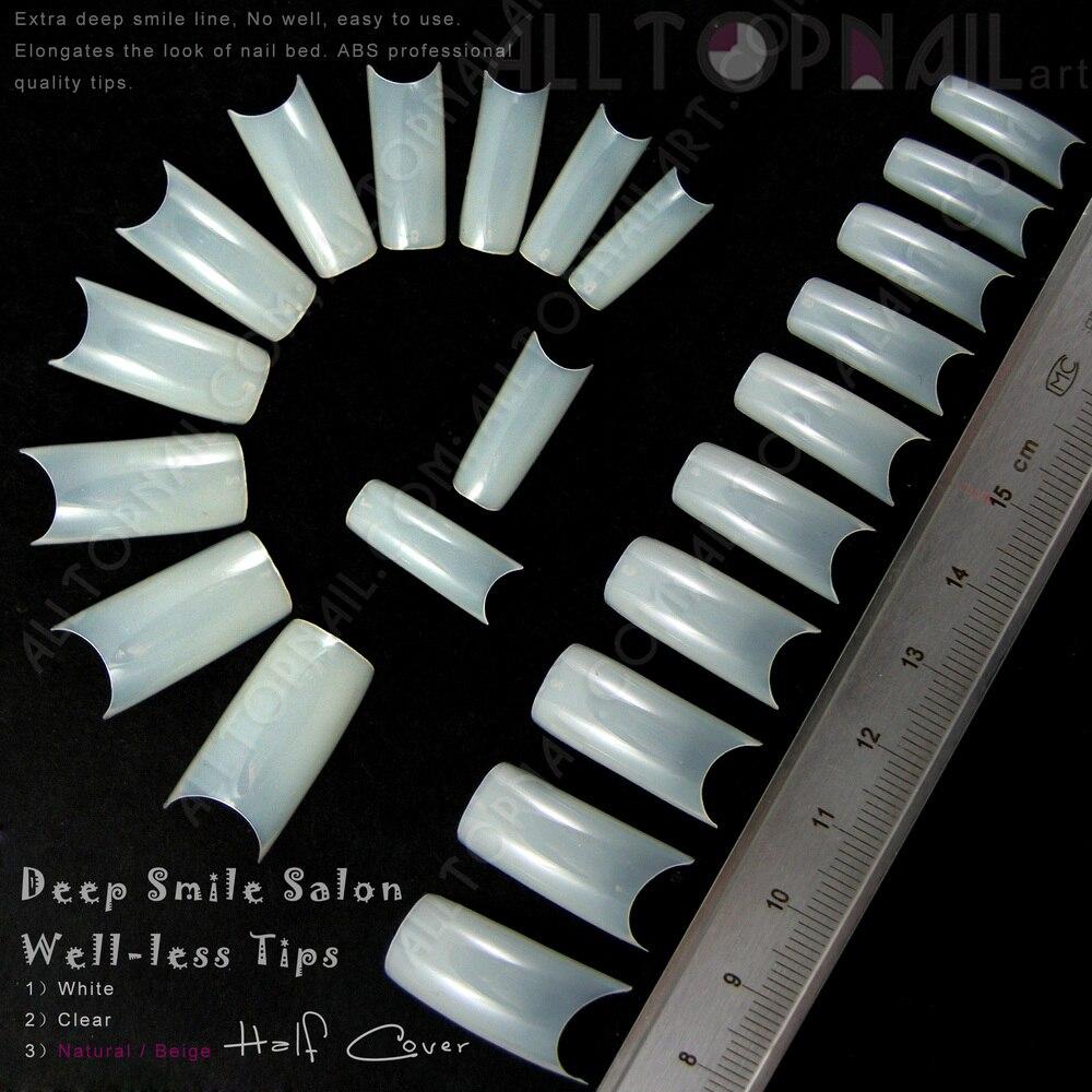 Half Well Nail Tips: 100x Deep Smile Natural Salon Well Less Nail Tips Perfect