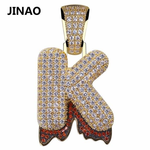 JINAO A-Z Custom Bubble Blood Drip Letter Pendant Necklace Charm For Men Women Gold Silver Color Cubic Zircon Hip Hop Jewelry