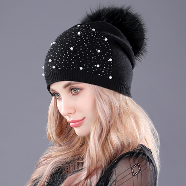 [boapt] rhinestones diamond pearl double-deck knitted cashmere winter hats women cap real raccoon fur pompom hat female beanie