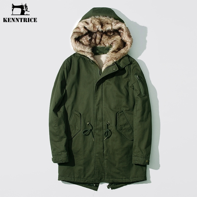 KENNTRICE Long Mens Coat Padded Parka Fur Liner Hooded Military ...