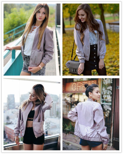 Women 39 s Fashion Classic Bomber Jacket Coat Clothes Outwear Zip Up Windbreaker Outfit for Ladies in Jackets from Women 39 s Clothing