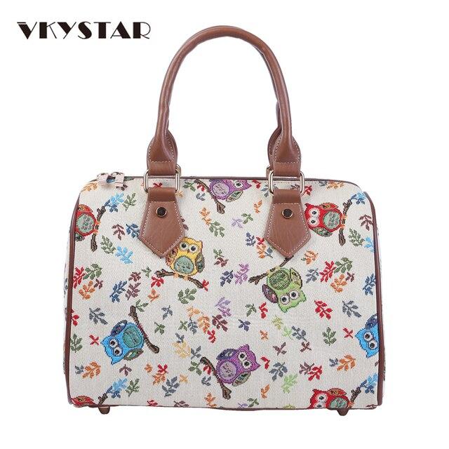Vkystar Owl Animal Prints Women Bucket Bag Party Jacquard Handbags Cream Fashion Messenger Retro Simple