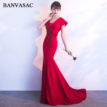 BANVASAC 2018 V Neck Lace Appliques Sweep Train Mermaid Long Evening Dresses Party Short Cap Sleeve Backless Prom Gowns