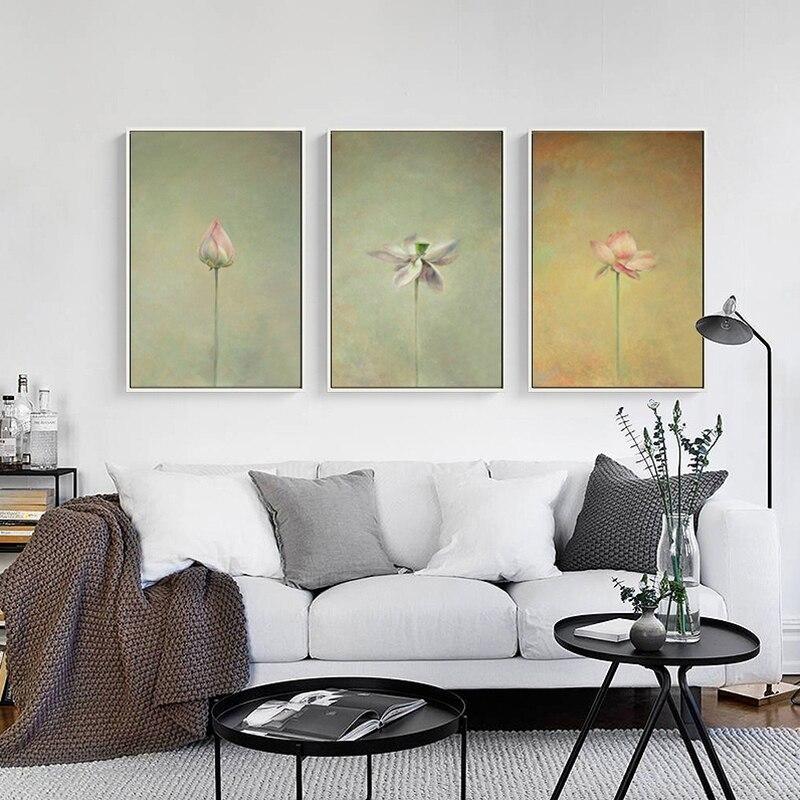 Bianche wand chinesischen lotus tinte malerei zen illusory yoga leinwand malerei kunstdruck...