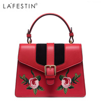 LA FESTIN Women Embroidery Leather Handbags Mini Sweet Ladies Single Crossbody Bags Female Bags High Quality