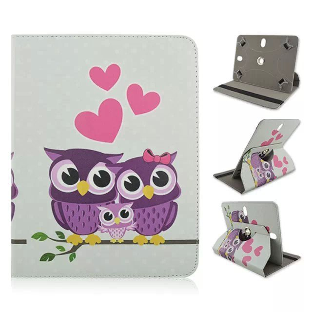 "360 Rotating  Smart PU Leather Case Cover with OWL Printed  suitable for 10""inch tablet  hard Shell Stand Cases free shipping"