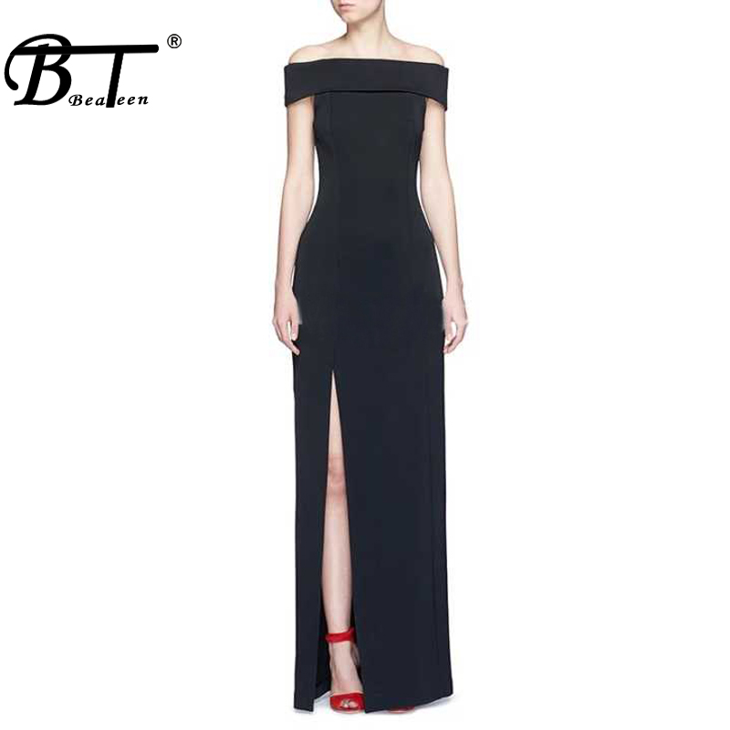 Beateen New <font><b>Off</b></font> The <font><b>Shoulder</b></font> High Split <font><b>Elegant</b></font> Women Elegance Long <font><b>Bodycon</b></font> <font><b>Party</b></font> Dress <font><b>2018</b></font> image
