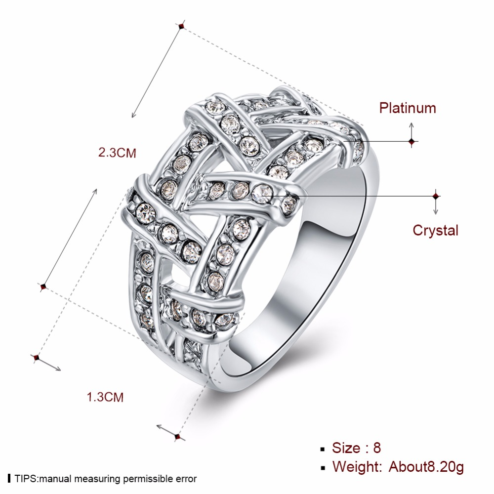 Weave Shaped Round Cut Clear CZ White Gold Colour Simulated crystal Pave Rings Marca Jewelry for Women Hot Anillos