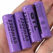 PCS 3.7 V 2300 MAH 14500 Baterias Nimh Nicd Bateria de Lítio Li-ion Baterias Recarregáveis AA 2A Bateria Roxo