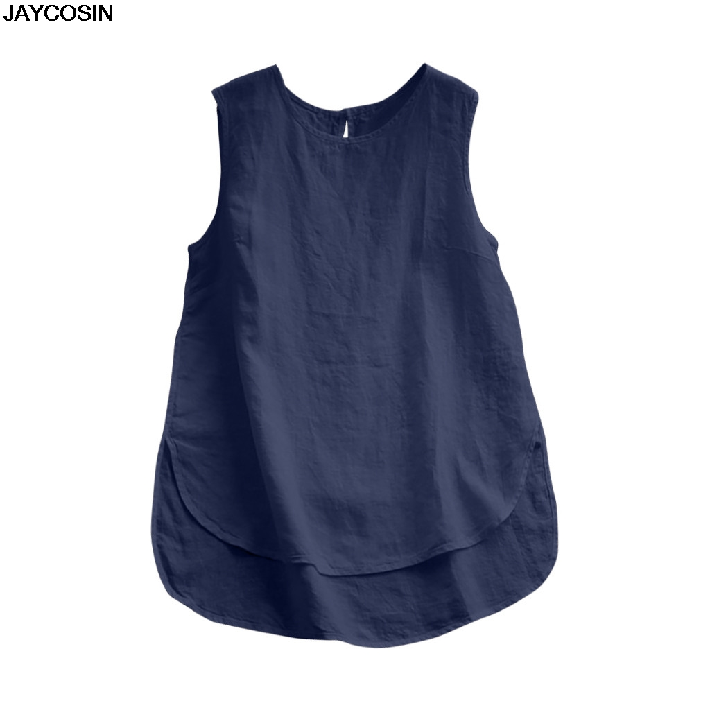 JAYCOSIN T-shirt Women Casual Plus Size Linen Top Tee Vintage Solid Sleeveless Loose Vest Summer DIY Tops Soft High Quality 9416