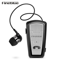 Fineblue FQ208 Bluetooth 4 0 Earbud Car Business Earphone With Retractable Cable Noise Canceling