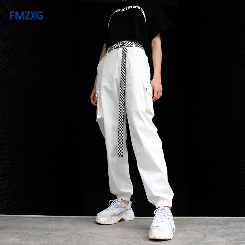 Women Cotton White Casual Cargo Pants Streetwear High Waist With Pocket Pants Summer Women Autumn Going Out Trousers Sweatpants