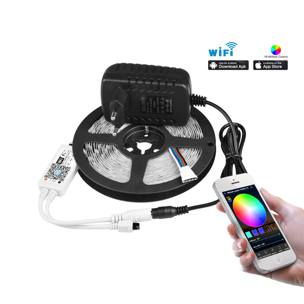 Design; Set Rgb Led Strip Light With Wireless Wifi Controller Led Ribbon Tape Smd 5050 Rgbw Rgbww Led Strip Tape With Eu/us Adapter Novel In Systematic 5m