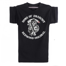 Sons of Anarchy Samcro Jax Spring Summer Print Short Sleeves T-shirt Pullover US EU Size Plus Size Colour in White/Black