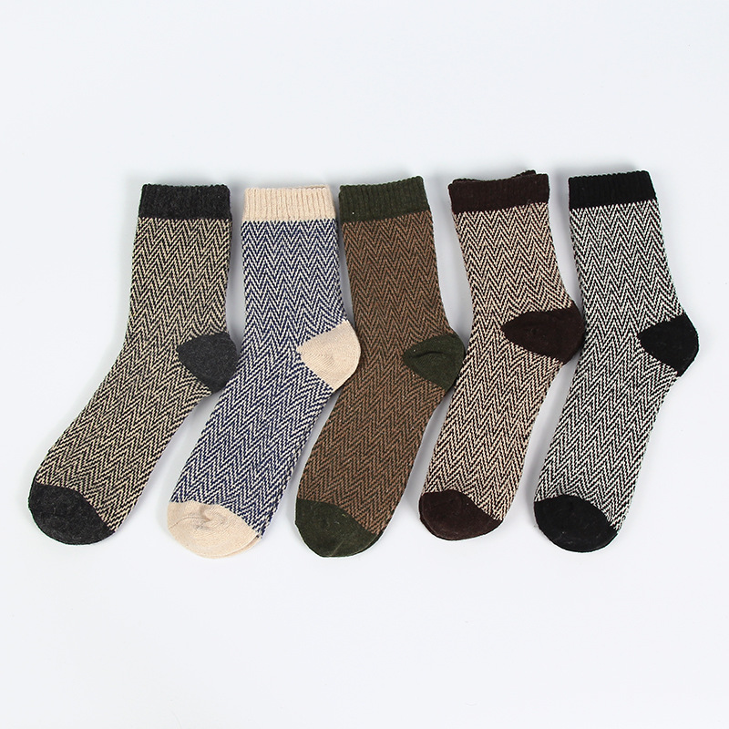 winter men high guality Water ripples patterns thicken warm wool socks male brand vintage cotton socks 5pairs/lot