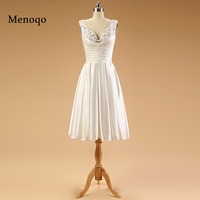 PRD426 Factory direct Graceful A line Beaded Satin Tea length short bridal gown real sample wedding dress