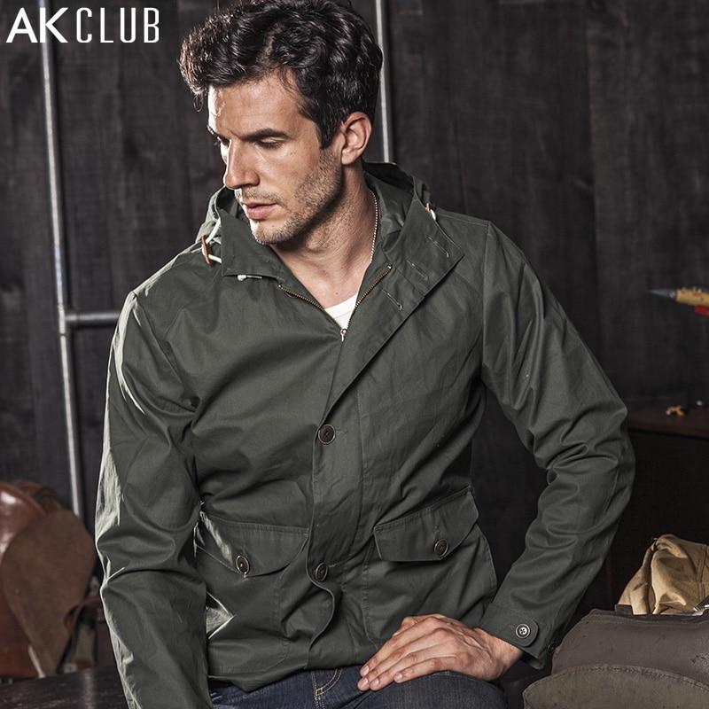 AK CLUB Brand font b Men b font Jacket 2017 Windbreaker Hooded Jacket 100 Cotton font
