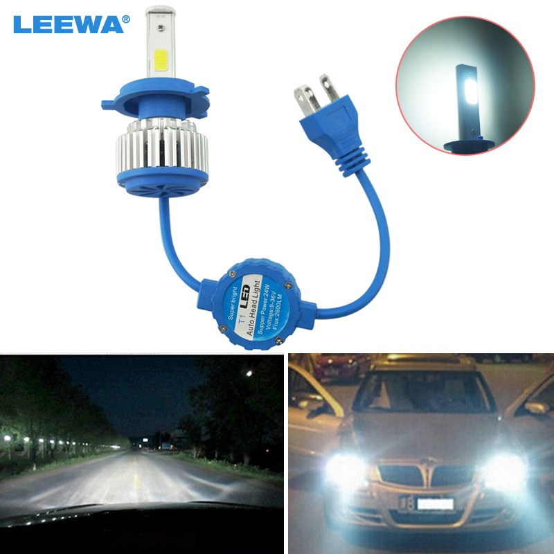 10pcs Bright H4 Hi/Lo 6000K All-in-One 48W 5200LM Car LED Headlights COB Chips Car Fog Light Bulbs Light Bult-in Fan #1433