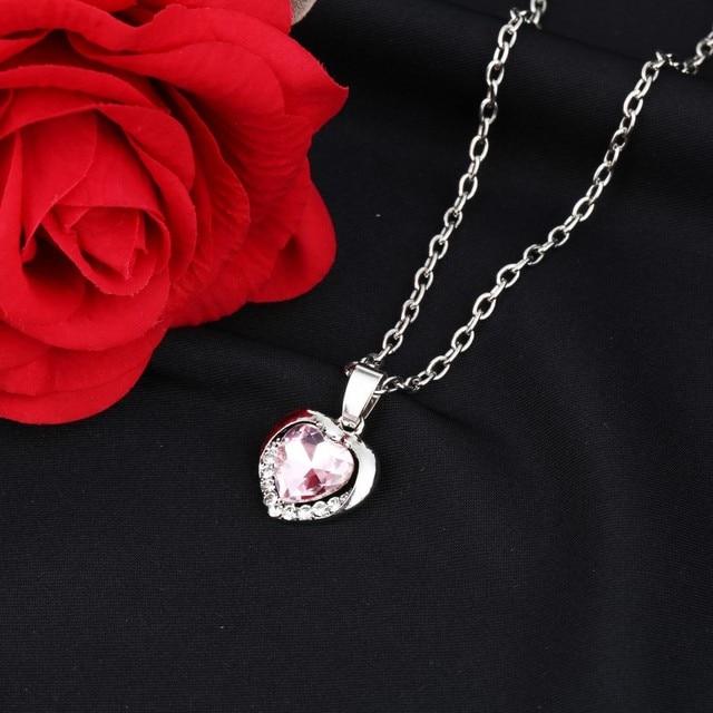 Elegant Classic Zircon Glass Ocean Heart Shape Dark Blue Crystal Necklaces & Pendants Statement Chain Necklace Woman Jewelry 2