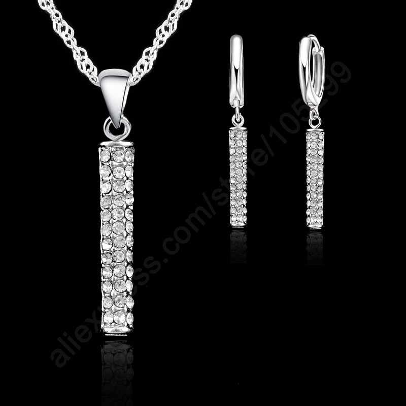 Cubic Zirconia Woman Loop Earring Pendant Necklace Jewelry 925 Sterling Silver White Gold Color Top Quality Fashion Set