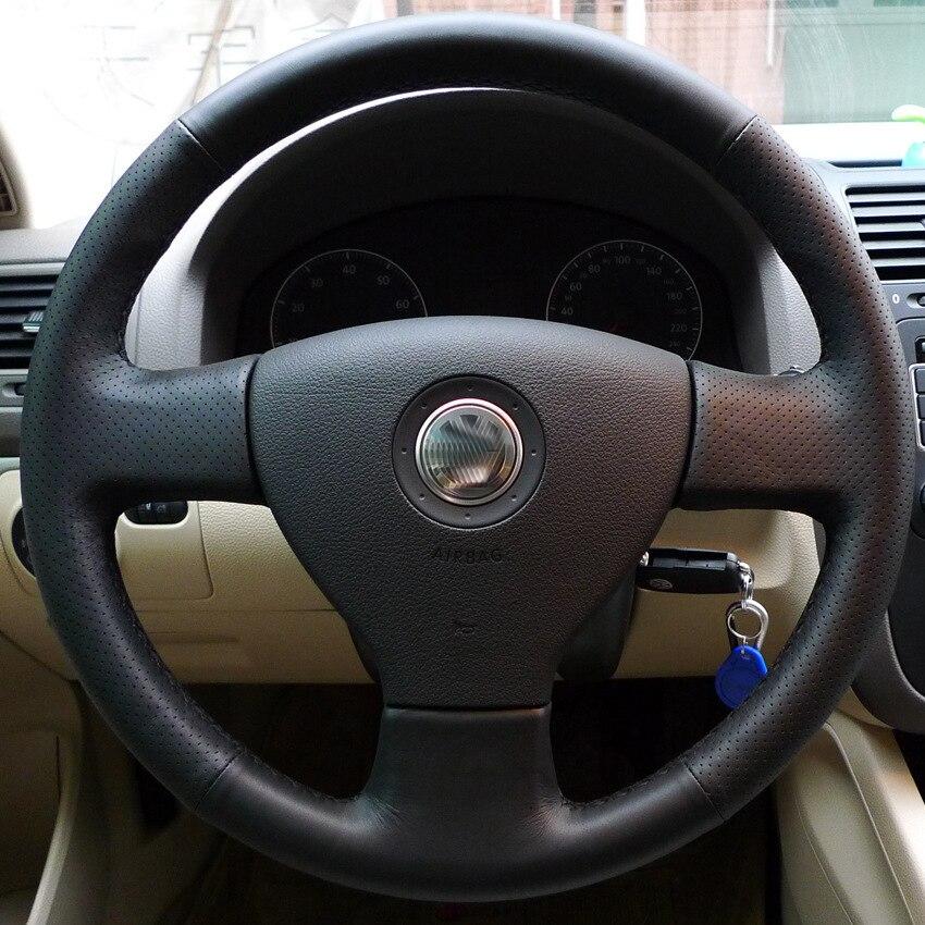 Leather Car Steering Wheel Cover for VW Sagitar MAGOTAN Bora Jetta Polo Lavida
