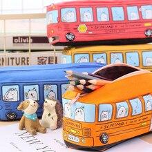 Creative School Bus Pen Bag Canvas Material estuches School Pencil Case Large Stationery Storage Bag escolar Office Supplies