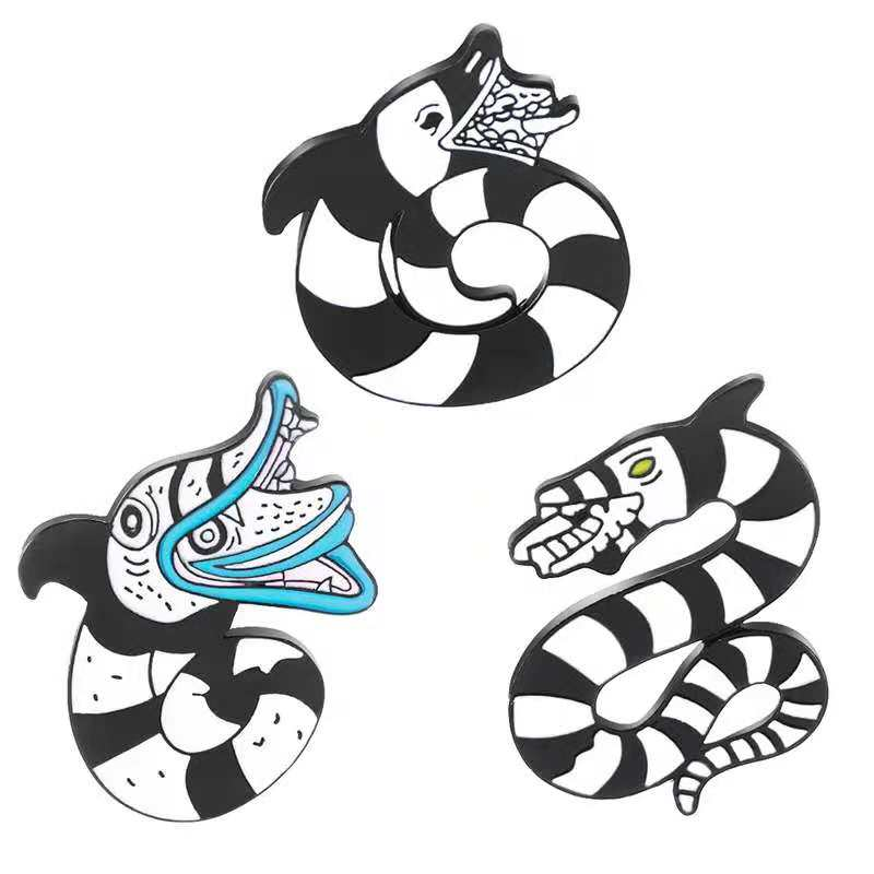 1 Set Beetlejuice Cartoon Sandworm Lydia Deetz Reptile Animal Occult Gift Black White Snake Soft Enamel Pin Snake Brooches Pins Brooches Aliexpress