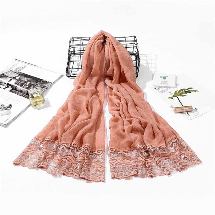 2019 новый дизайн Шиммер мусульманский кружевной шарф хлопок Хиджаб Женский шаль длинный широкий шарф