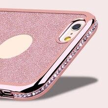 Bling Rhinestone Чехол Для iPhone 6 6 s 4.7 дюймов Блеск Алмазный Задняя Крышка Гальванических Рама Ударопрочный Мягкий Силиконовый ТПУ случае