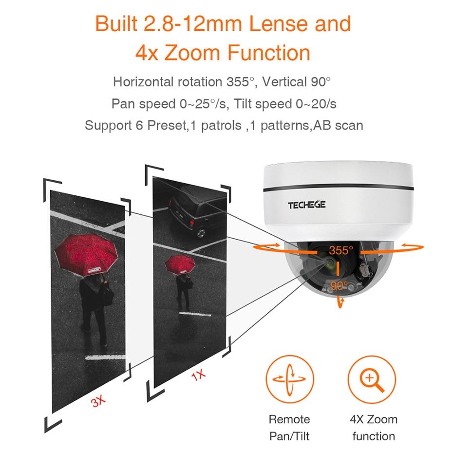 Techege HD 2MP PTZ IP CCTV Security Camera POE 48V Mini Pan/Tilt/Zoom 4X Optical Zoom Speed Dome PTZ Camera Onvif RTSP
