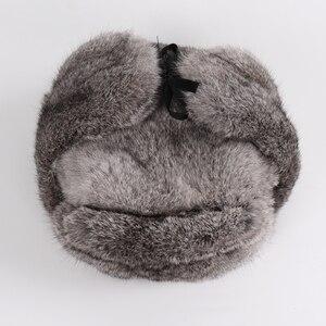 Image 3 - Nowy rosyjski zima Unisex prawdziwe królik futro bombowiec kapelusz mężczyźni ciepłe 100% naturalne futra królika kapelusze męskie pełna Pelt futro czapka z futra królika