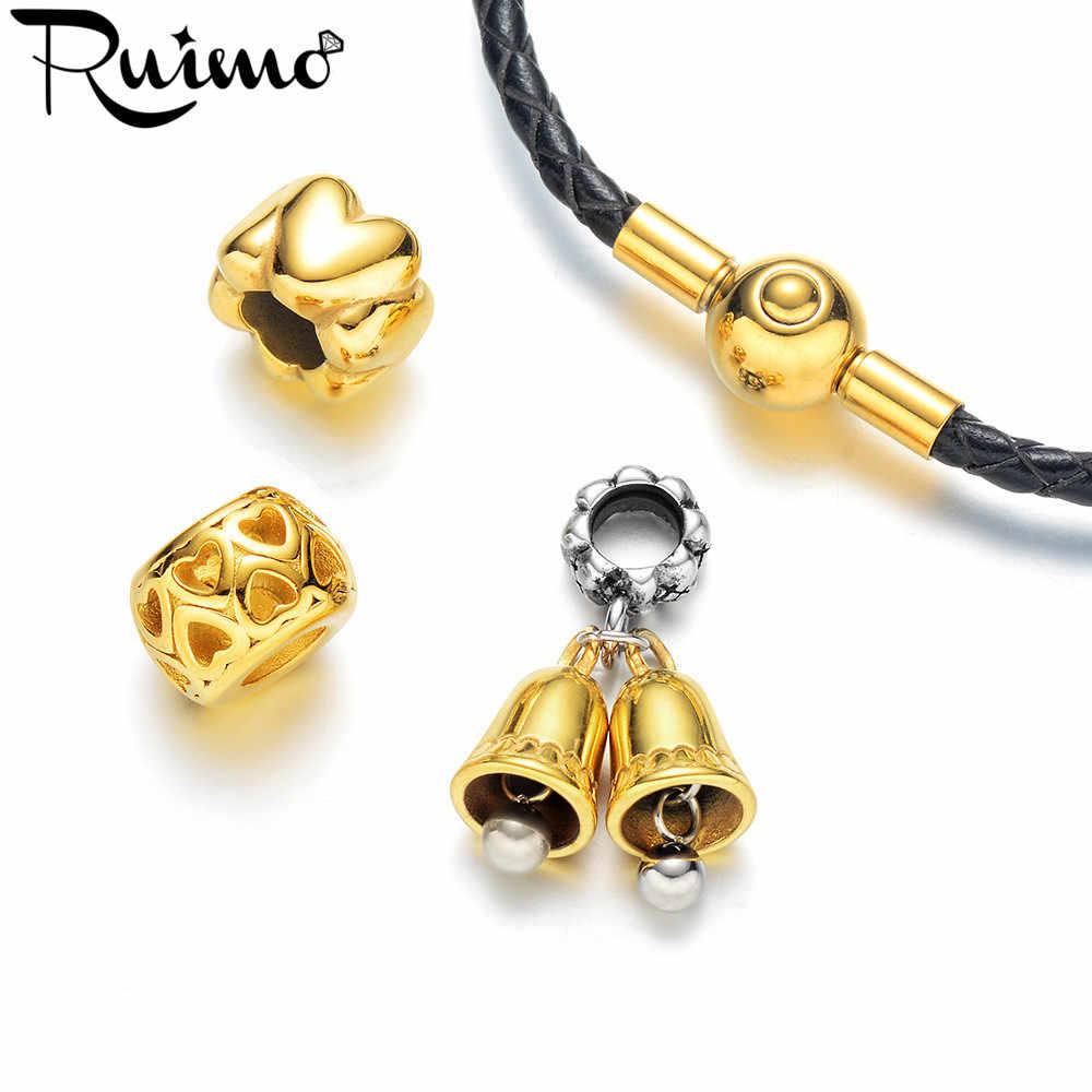 RUIMO Gold Bell Charm จี้สำหรับสร้อยข้อมือผู้หญิงเครื่องประดับสร้อยคอทำ Charms 316L สแตนเลส DIY อุปกรณ์เสริมลูกปัด
