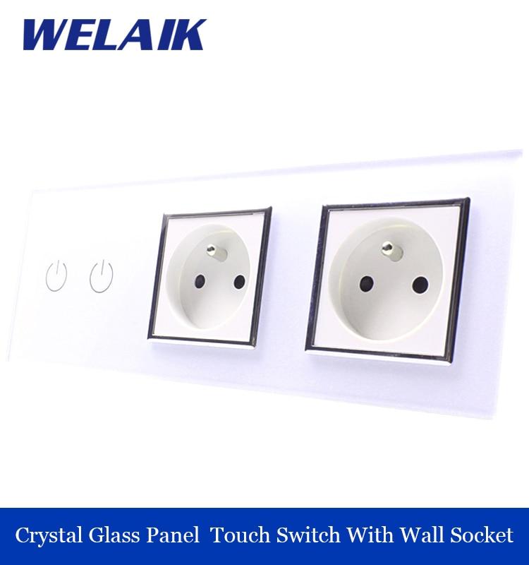 ФОТО WELAIK Crystal Glass Panel France power socket EU touch  Socket control Screen Wall Light Switch 2gang1way white A39218F8FW