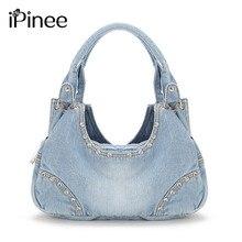 IPinee moda kadın kot çanta tatlı yüksek kaliteli çanta elmas bayanlar Tote çanta postacı çantası