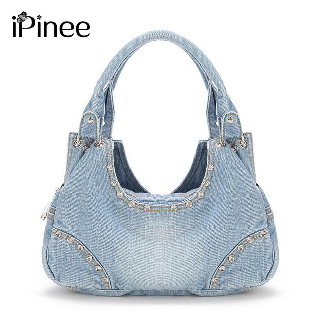 IPinee نساء موضة الدينيم حقائب حلوة عالية الجودة حقائب مع الماس السيدات حمل حقيبة حقيبة ساع