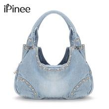 iPinee Fashion Women Denim Handbags Sweet High Quality Handbags With Diamond Ladies Tote Bag Messenger Bags