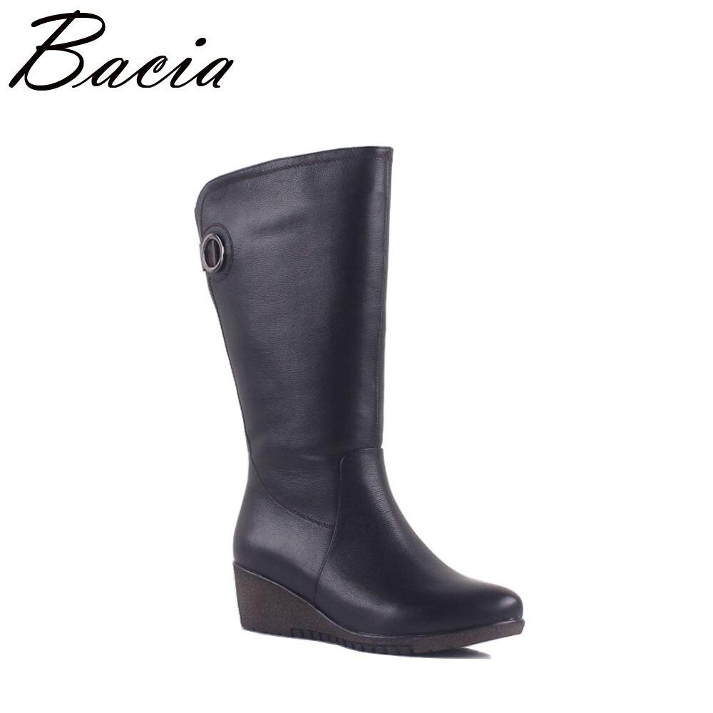 Bacia/новые женские зимние ботинки теплая шерсть обувь на меху из коровьей кожи сапоги ботинки до середины икры широкие короткие ботинки на та...