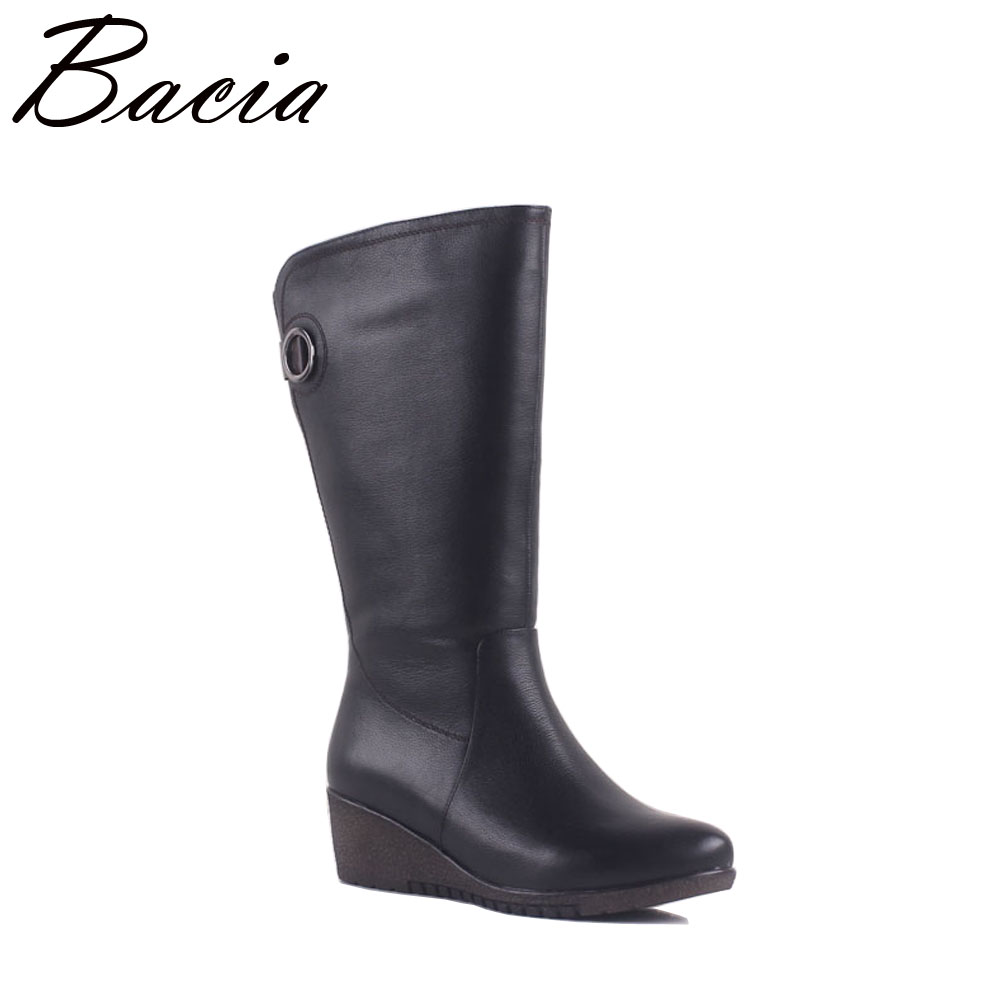Bacia NEW Women Winter Boots Warm Wool Fur Shoes Cow Leather boots Mid Calf Boots Wide Wedges Short Boots Size 36-40 MA005