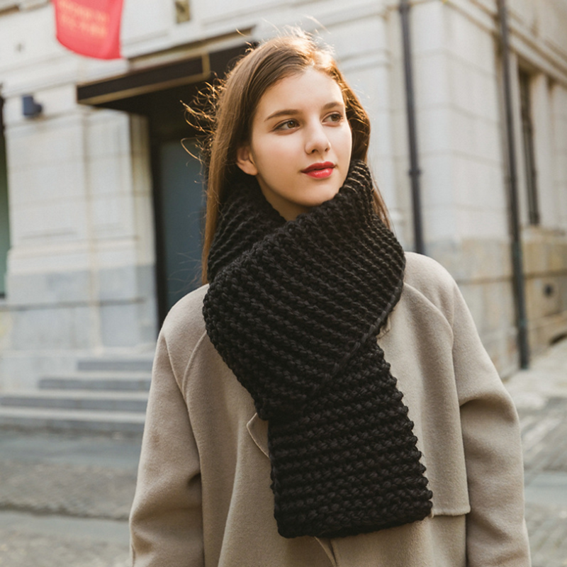 SupSindy Women 's Scarf Winter Wool Knitted Candy Colors Scarves Soft Comfortable Thick Warm  Handmade Scarves European Style