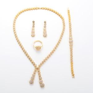 Image 4 - Hadiyana פשוט עגול נשים תכשיטי סט עם מעוקב Zincons שרשרת עגילי צמיד טבעת 4pcs שושבינה חתונה סטי TZ8032