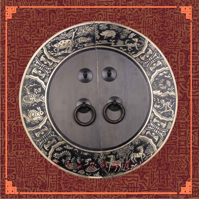 [Haotian vegetarian] special Ming and Qing furniture handle all copper / copper ring pull / cabinet handle 24cm pure copper handle furniture cabinet wardrobe full copper solid door handle